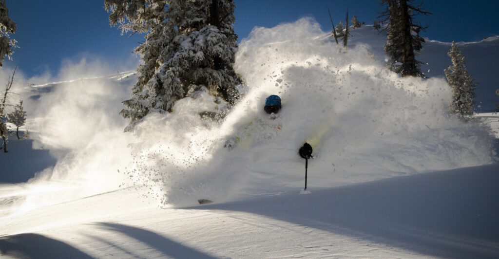 Deep powder face shot